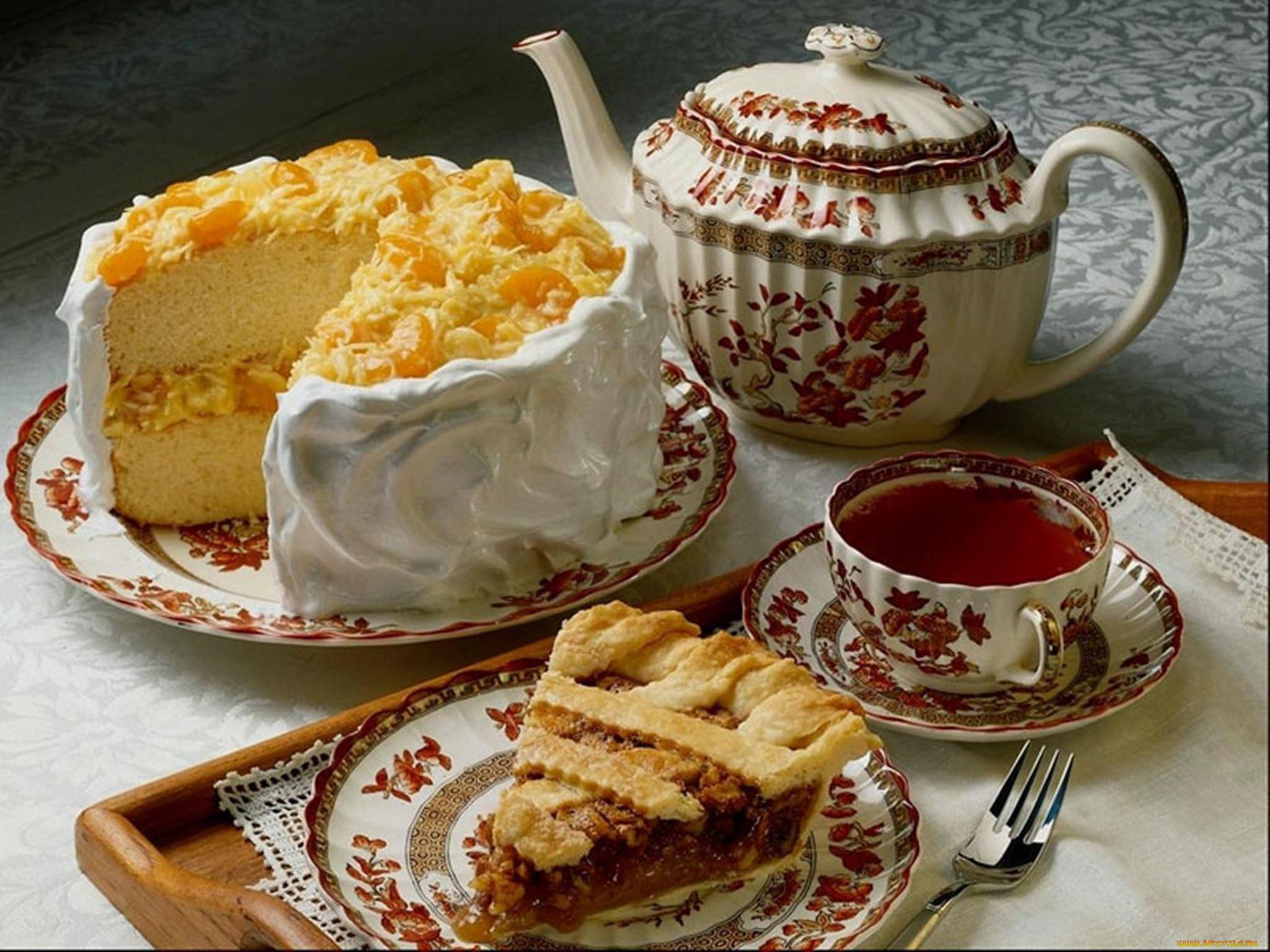 Картинка торта с чаем